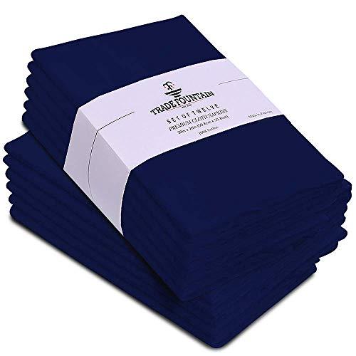 Trade Fountain Set di 12 tovaglioli di Stoffa di Cotone - Tovaglioli riutilizzabili 50 x 50 cm - Tovaglioli di Cotone Oversize Realizzati in Tessuto di Puro Cotone - Tovaglioli da tavola (Blu)