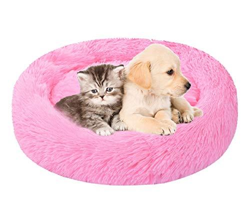 Voqeen Cama para Dormir Perros y Gatos con cojín Suave, Cama Gato Suave Cama Perro Redonda, Cama Redonda con Forma de rosquilla para Gatos y Perros pequeños y medianos