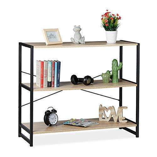 Relaxdays Standregal, Industrie Design, Bücherregal quer mit 3 Fächern, HBT: 80 x 95 x 35 cm, PB/Metall, braun/schwarz