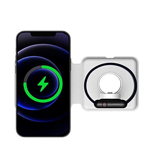 ALLWIN Cargador Inalámbrico 2 En 1, Almohadilla De Carga Rápida Qi De 15W para Apple Watch 6 5 4 3 2 para iPhone 12 Pro MAX 11 Pro MAX XS XR X 8 Plus