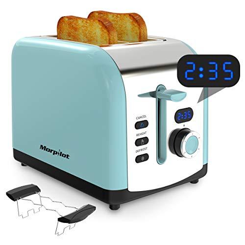 Toaster Edelstahl, Morpilot 2 Scheiben Toaster Langschlitz mit LED Countdown Anzeige 800W Toaster, Breit Schlitz, 6 Bräunungsstufen, Brotzentrierung, Krümelschublade, Auftau, Aufwärm Stopp Funktion