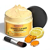 Turmeric Vitamin C Clay Mask, SHVYOG Vitamin C Clay Facial Mask with Kaolin Clay and Turmeric for Radiant Skin, Turmeric Facial Mask Skin Care Mask for Controlling Acne, Oil and Refining Pores