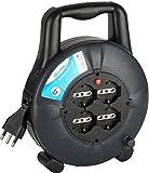 Electraline 49026 Prolunga Elettrica con Avvolgicavo 10 mt, 4 Prese Polivalenti, Schuko + 10/16A, Spina 16A, Sezione Cavo 3G1,5 mm²