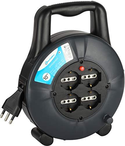 Electraline 49026 Prolunga Elettrica con Avvolgicavo 10 mt, 4 Prese Polivalenti, Schuko + 10 16A, Spina 16A, Sezione Cavo 3G1,5 mm²