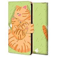 Android One X5 ケース 手帳型 アンドロイド ワン X5 カバー おしゃれ かわいい 耐衝撃 花柄 人気 純正 全機種対応 WX001-猫親子 アニマル かわいい アニメ 4279967