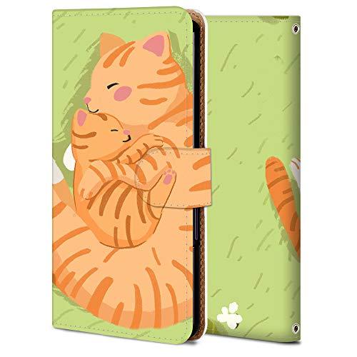 LG G7 thinQ 手帳 ケース G7 thinQ 保護 カバー 専用 耐衝撃 カメラ穴 スタンド機能 高級 PUレザー 全面保護 横開き 軽量 薄型 WX001-猫親子 アニマル かわいい アニメ 11905
