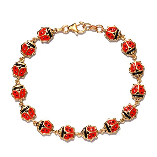 GP Blue Sapphire Lady Bird Charm Bracelet for Women in Gold Plated 925 Sterling Silver Designer Charms De Memoire Gift Size 7.5 Inches, TCW 0.02ct