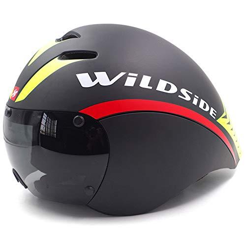 LICHUXIN TT Triathlon Casco, PC + EPS Bicicleta de montaña Casco de la Bicicleta con Magnética Gafas y Circunferencia de la Cabeza de Ajuste del Sistema Kinetic Design,A