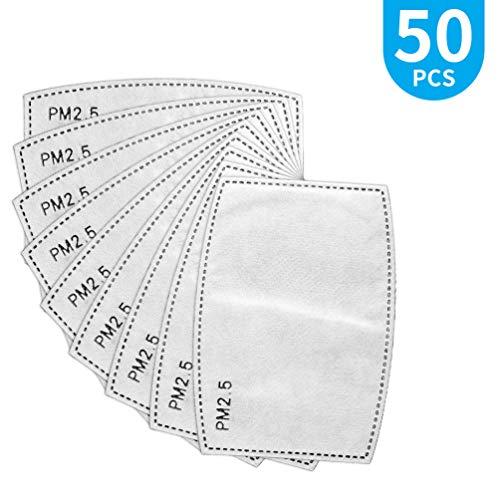 PRETTY SEE 50 PCS Filtro de Carbón Activado Protector de 5 capas Reemplazable PM2.5 Papel de Filtro Externo Antivaho Antibacteriano a Prueba de Polvo filtro de máscara. (Blanco)