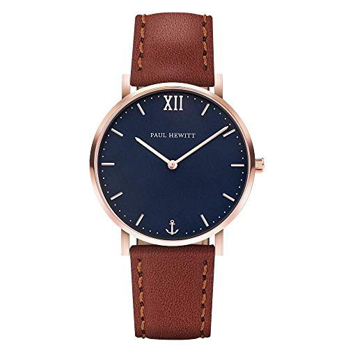 PAUL HEWITT Armbanduhr Damen Sailor Line Blue Lagoon - Damen Uhr (Rosegold), Damenuhr mit Lederarmband in Braun, blaues Ziffernblatt