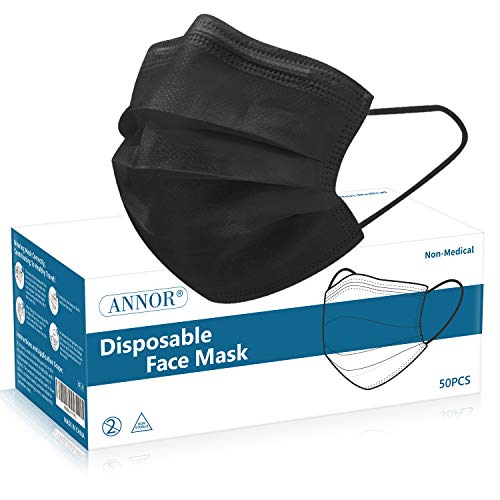 Black Face Mask, Black Disposable Face Mask, Black Disposable Masks, Daily Protection Mask with Filter Layer and Knitted Earloops Black Face Masks (Pack of 50)