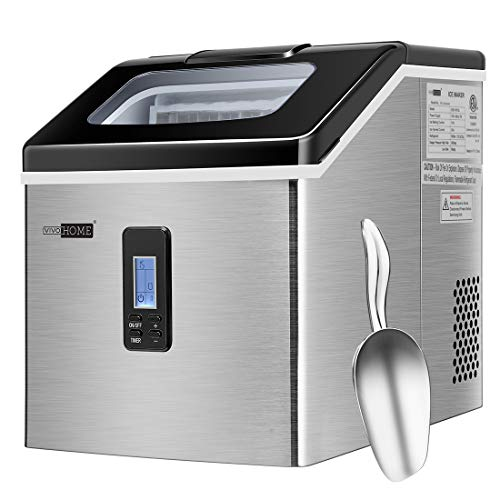 VIVOHOME Electric Portable Compact Countertop Automatic Square Ice Cube Maker Machine with Scoop 40lbs/day Silver