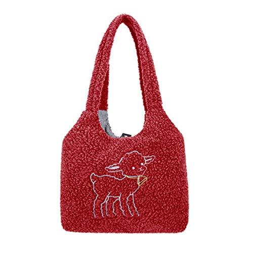 REBKW Bolso de tela de cordero para mujer, de lona, de piel esponjosa, de gran capacidad, para la compra, para niñas (ovejas rojas, China)