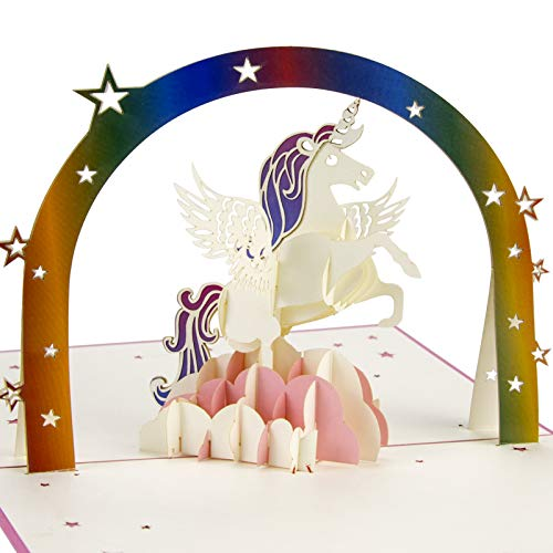 Biglietto Auguri Compleanno 3D Pop-up Unicorno,per Anniversario,Graduazione,Matrimonio, giorno dei bambini, biglietto di ringraziamento
