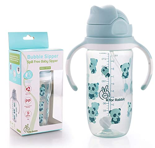 R for Rabbit Premium Bubble Sipper 300 ml|10 fl oz|Anti Spill Sippy Cup with Soft Silicone Straw BPA Free & Non Toxic for Baby or Kids of 9 Months Plus (Blue)