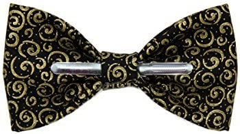 Toddler Boy 4T 5T Black With Gold Scrolls Clip On Cotton Bow Tie by amy2004marie