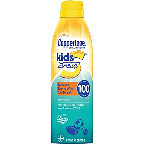 Coppertone SPORT KIDS Sunscreen Continuous Spray SPF 100 (5.5 Ounce) (Packaging may vary)