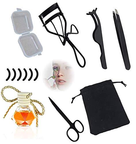 Wimpernzange für schön geschwungene Wimpern als Set mit Augenbrauenpinzette und Kosmetikschere aus Edelstahl mit 6 Ersatz Silikonpads und Wimpernpinzette plus Duft Flacon
