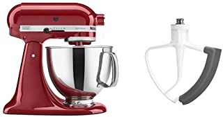 KitchenAid KSM150PSER Artisan Tilt-Head Stand Mixer with Pouring Shield, 5-Quart, Empire Red and KitchenAid KFE5T Flex Edge Beater for Tilt-Head Stand Mixers Bundle
