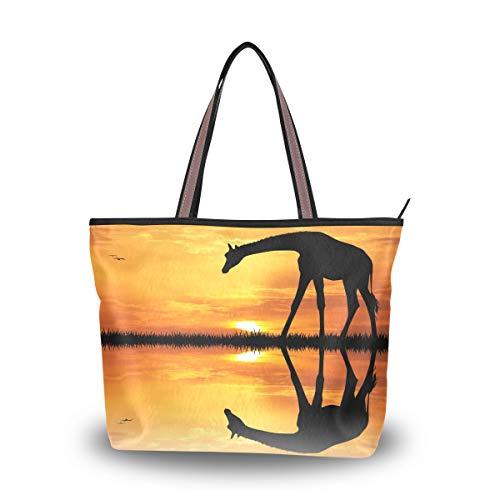 Emoya Damen Handtasche Giraffe im afrikanischen Sonnenuntergang oben Tragegriff Casual Tote Schultertasche Arbeitstasche Casual Bag M, Mehrfarbig - multi - Größe: Medium