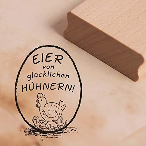 Stempel Eier von glücklichen Hühnern! - Motivstempel Huhn Wiese ca. 28 x 38 mm