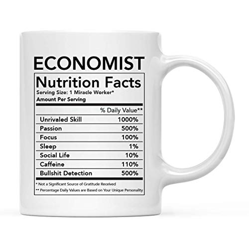 Funny 11oz. Ceramic Coffee Tea Mug Thank You , Economist Nutritional Facts, 1-Pack, Novelty Gag Birthday Ideas Coworker