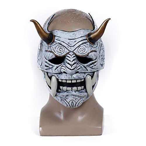 Miaoao-mask Cosplay mscara japons Samurai mscara ltex Cara Plena asustadizo prajna Disfraz de Halloween Asesino Cosplay apoyos (Color : Baise)