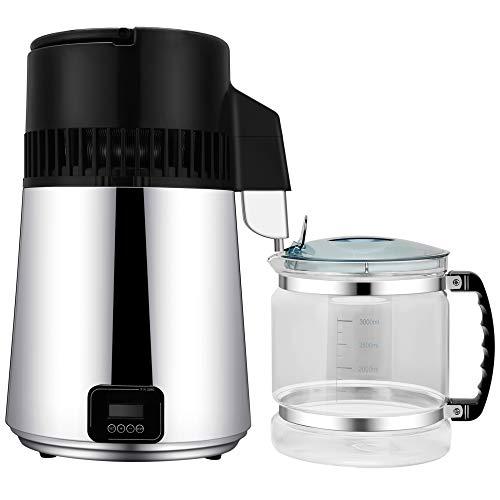 TOPQSC Destilador de agua de acero inoxidable para el hogar, purificadores de agua de la pantalla LCD mesa mesa de destilación de agua, máquina de 4L de agua destilada para el hogar