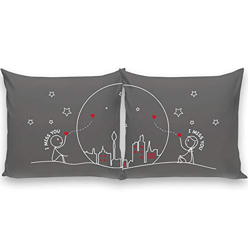 BoldLoft Miss Us Together His and Hers Throw Pillow Covers-Long Distance Gifts for Couples- Long Distance Pillow Cases for Him and Her- LDR Gifts- 26'x26' Grey
