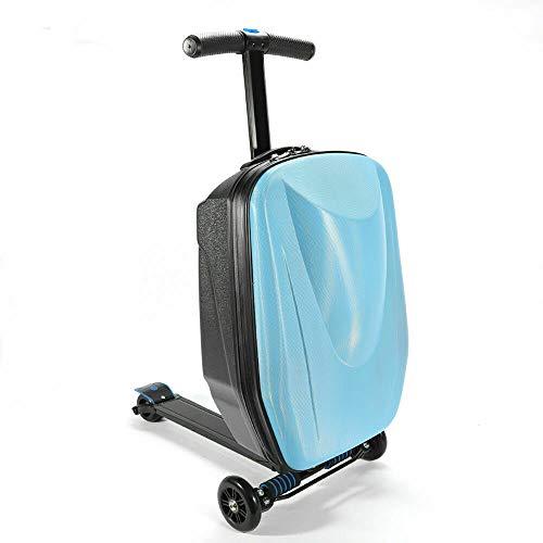 sujrtuj Reisekoffer Scooter Roller Koffer Trolley Faltbarer Handgepäck Hartschalenkoffer(Schwarz/Blau) (Blau)
