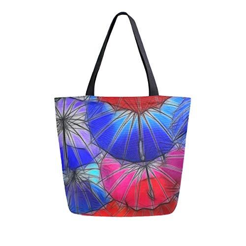 für Frauen Mädchen Damen Student Umhängetaschen Handtaschen Geldbörse Einkaufen Bunte Kunst Regenschirm Schöne Wildlife Light Weight Strap Tote Bag