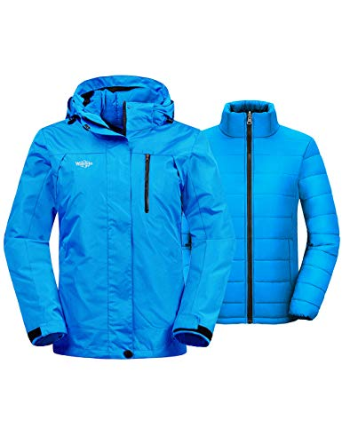 Wantdo Women's Thick 3-in-1 Ski Jacket Interchange Raincoat Cotton Padded Winter Parka with Detachable Puffer Liner Casual wear(Blue, X-Large)