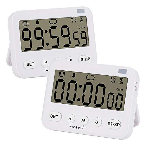 stonylab Reloj Temporizador Digital, 2-Pack Reloj Digital Prima Multifunción Temporizador de Cuenta Regresiva con Alarma, Respaldo Magnético Pantalla de Dígito Grande Vibración/Linterna/Alarma Sonora