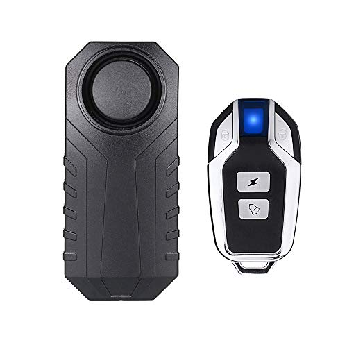 Mengshen Drahtlose Motorrad Fahrrad Alarm, Diebstahlsicherung Alarm Mit Fernbedienung, IP55 Wasserdicht, 113 dB Super Laut (Schwarz)