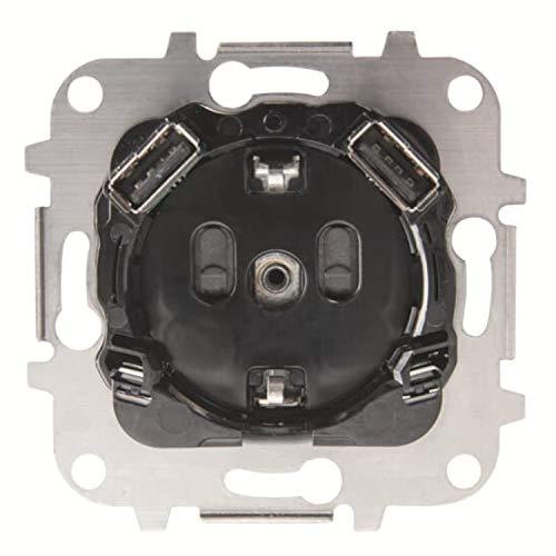 Niessen Base enchufe schuko y doble cargador USB, 250V, 16A, con protección infantil, 22,5 x 15 x 7,8 centímetros, color negro (referencia: 8188.3), estándar