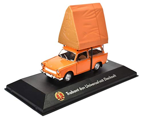Atlas Trabant 601 mit Dachzelt Fertigmodell in Displayvitrine im Maßstab 1:43