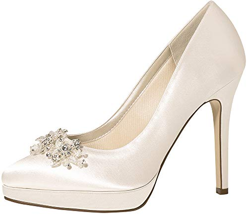 Rainbow Club Brautschuhe Skye - Limited Edition - Damen High Heels gepolstert, Kristall, Ivory/Creme, Satin - Gr. 39 (UK 6)