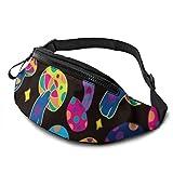 AOOEDM Setas de Colores Cinturón para Correr Riñonera Moda Riñonera Bolsa para Hombres Mujeres Deportes Senderismo