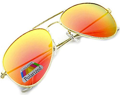 MFAZ Morefaz Ltd Damen Herren Pilot Sonnenbrille Polarisierten Spiegel Fallgläser Unisex (Orange Gespiegelt)