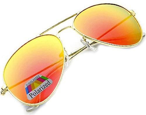 Vintage Retro Original Piloto Espejo Lente Polarizado Gafas de sol Gafas de sol Fuerza Aérea Unisex Vintage lente UV400 MFAZ Morefaz Ltd, color Naranja, talla Talla única