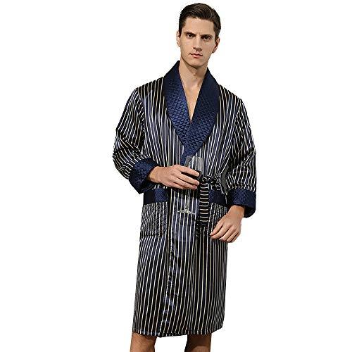 Camisón De Satén De Seda para Hombre Pijamas De Manga Larga Bata De Seda Suelta Rayas Ropa De Dormir con Cinturón De Faja Albornoz Bata Azul L-XXL,Dark Blue Stripes,XL