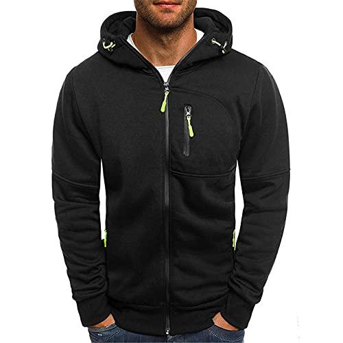 BIKETAFUWY Veste de sport à capuche pour homme - Extérieur - Hiver - Coton - Manches longues - Sweat à capuche avec fermeture éclair - Automne et hiver, Noir , XL