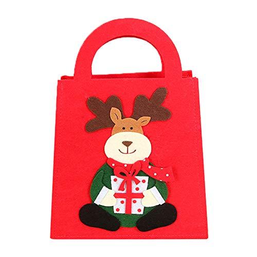 Topdo 1 Pieza Bolsa de Regalo Navidad con Cajas de Tela no Tejida Elk Lindo Portátil Gift Bag para Navidad Fiesta de Boda Bolsas de Regalo Rojo 20 * 28c