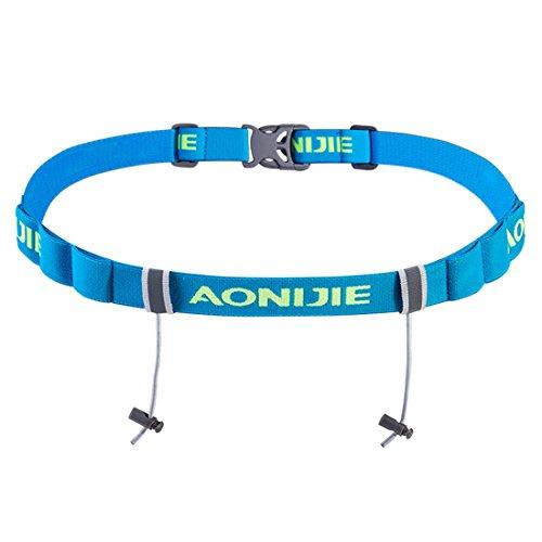 AONIJIE Triatlón Maratón Carrera Número Cinturón Con correa para correr con soporte de gel Motor de correa de tela en funcionamiento (Azul)