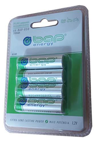 Pilhas Bap Energy, Pilha Recarregável, AA, 2700MAH, 1.2V, Pacote com 4, Profissional