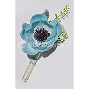 Silk Blooms Ltd Real Touch Turquoise Anemone Poppy Grooms Wedding Buttonhole
