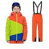 YFCH Tuta da Sci per Bambini Invernali per Bambini Ragazzi Abbigliamento Sportivo Impermeabile Piumini Imbottiti Caldi da Sci con Pantaloni da Sci, 134-140/9-10 Anni