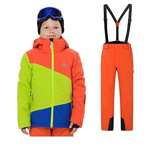 LPATTERN Kinder Jungen/Mädchen 2 Teilig Skianzug Schneeanzug(Skijacke+ Skihose), Orange-Grün-Blau Jacke+ Orange Trägerhose für Jungen, Gr. 116(Herstellergröße: 120)