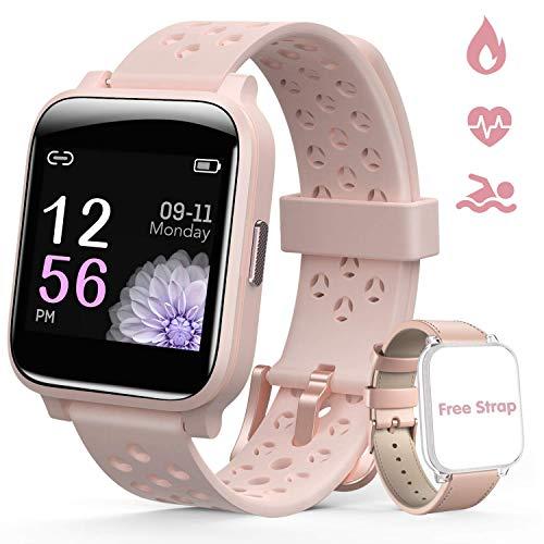 Hommie Smartwatch Damen Rosegold Fitness Uhr Damen IP67 wasserdicht schlaue Uhr 1,3 inch Full Touch IPS Touchscreen mit Schrittzähler Schlafmonitor Pulsmesser für Android Phones geeignet