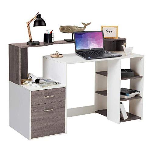 Bakaji Scrivania con Cassetto e Mobiletto Tavolo da Lavoro Porta Pc Computer in Legno Melaminico Arredamento Casa Ufficio Cameretta (Grigio Rovere)